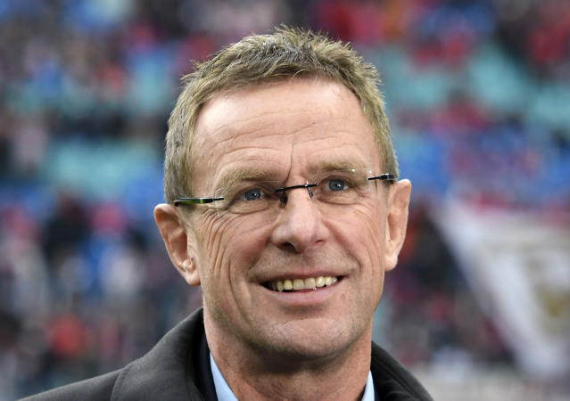 FILE - In this Nov. 6, 2016 file photo, Leipzig sports director Ralf Rangnick prior to the German first division Bundesliga soccer match against FSV Mainz 05 in Leipzig, Germany. The Bundesliga side said Monday July 9, 2018, that Leipzigs sporting director Ralf Rangnick is taking over as coach. (AP Photo/Jens Meyer, file)