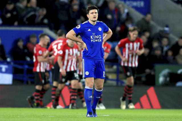 Leicester City's Harry Maguire appears dejected as Southampton score their second goal of the game during the English Premier League soccer match between Leicester City and Southampton at the King Power stadium, Leicester, England. Saturday, Jan. 12, 2019 (Mike Egerton/PA via AP)