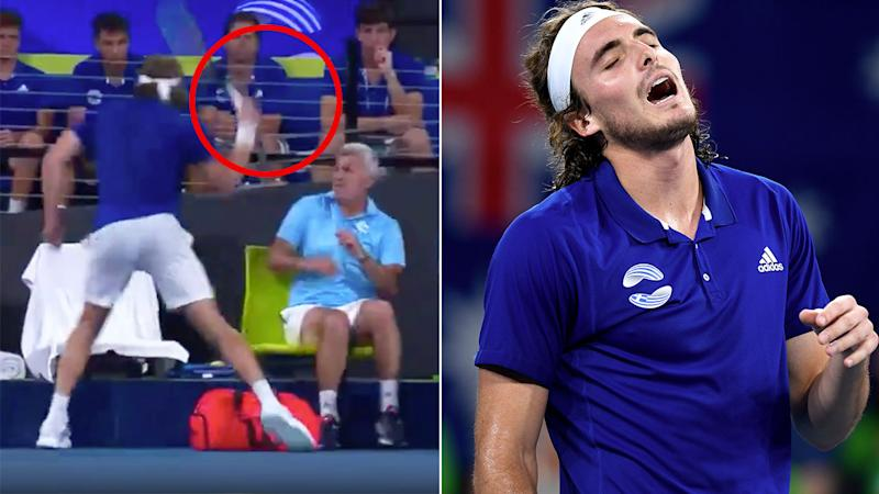 Seen here, Stefanos Tsitsipas injured his dad during an ATP Cup outburst.