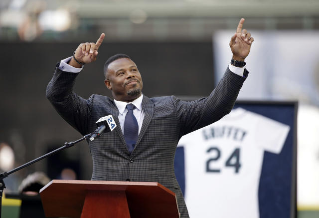 Ken Griffey Jr.'s career is profiled in the latest MLB Network documentary. (AP Photo/Elaine Thompson, File)