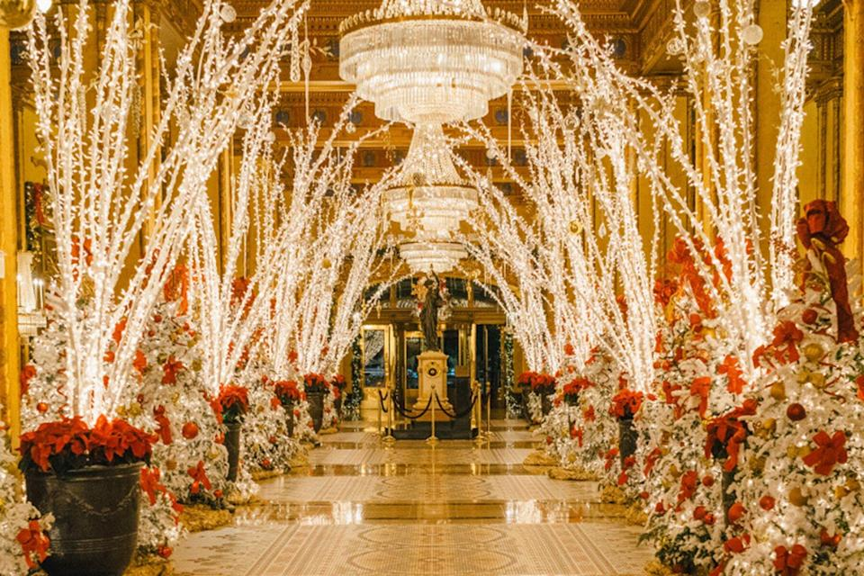 The Roosevelt New Orleans, A Waldorf Astoria Hotel decorated for the holidays