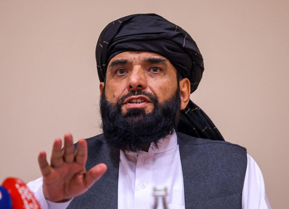 Taliban negotiator Suhail Shaheen attends a press conference in Moscow (AFP via Getty Images)
