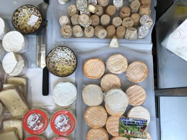 A selection of cheeses at Place Monge farmers market in Paris. (Photo: Alexandra Mondalek)