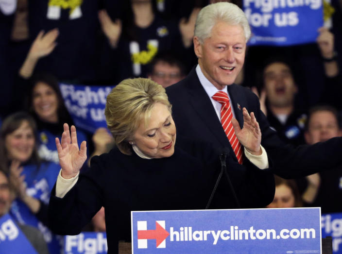 <p>Democratic presidential candidate Hillary Clinton reacts as former President Bill Clinton smiles at her New Hampshire presidential primary campaign rally on Feb. 9, 2016, in Hooksett, N.H. (Elise Amendola/AP)</p>
