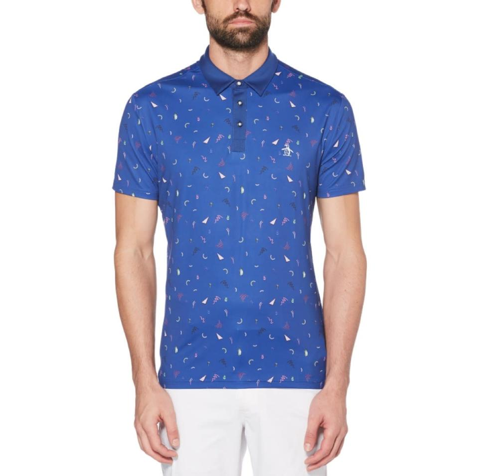 """$89; buy now at <a href=""""https://fave.co/2TKvvPa"""" rel=""""nofollow noopener"""" target=""""_blank"""" data-ylk=""""slk:originalpenguin.com"""" class=""""link rapid-noclick-resp"""">originalpenguin.com</a> <p>After a hiatus, Original Penguin is back and making a splash in the golf scene. With a slimmer fit and a fun, eye-catching design, the Memphis Print Polo is sure to set you apart at your club, too.</p>"""