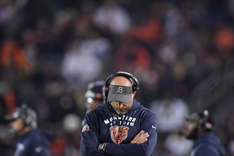 CHICAGO, IL - OCTOBER 20: Chicago Bears head coach Matt Nagy looks on in game action during a game between the Chicago Bears and the New Orleans Saints on October 20, 2019 at Soldier Field in Chicago, IL. (Photo by Robin Alam/Icon Sportswire via Getty Images)
