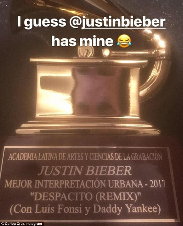 Sense of humor: Cruz deducted that the mix-up extended both ways, as he assumed Bieber was in possession of his trophy