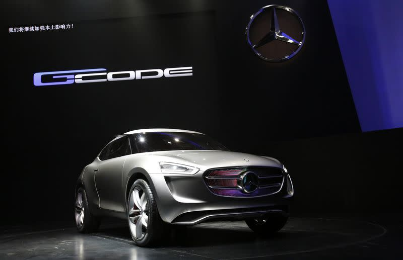Mercedes-Benz's new Sport Utility Coupe concept car G-Code is seen at its unveiling event during the opening ceremony of Daimler AG's Mercedes-Benz R&D centre in Beijing