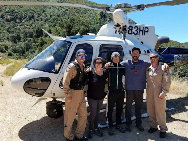 PHOTO: Pilot Joe Kingman with Curtis Whitson, Hunter Whitson and Krystal Ramirez after they were successfully rescued. (Curtis Whitson)