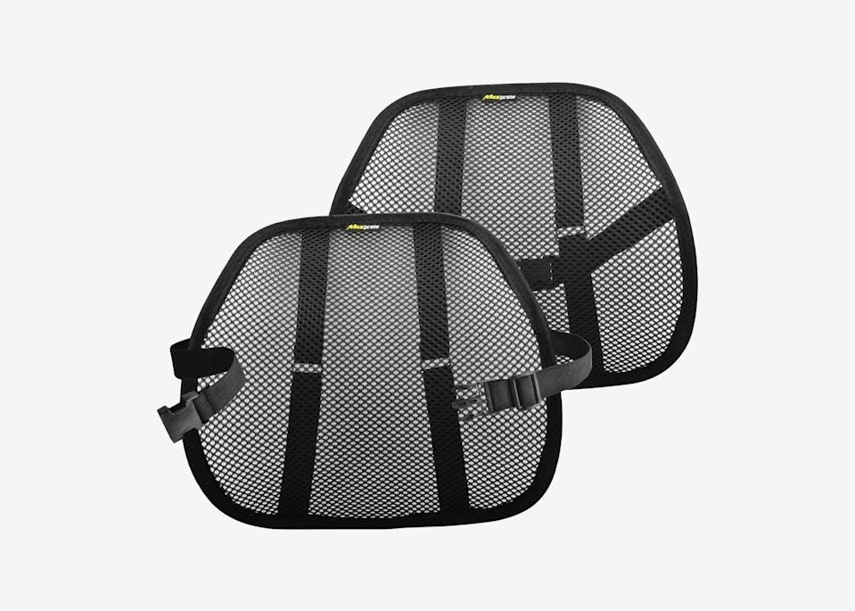 """<p>Several hours behind the wheel can leave your back feeling less than stellar. Strap one of these lumbar support shells around your seat to make your ride more comfortable: It cradles your back, helping to improve your posture and keep you from sinking into the seat, with the added bonus of a mesh fabric to keep your back cool.</p> <p><strong>Buy now:</strong> <a href=""""https://amzn.to/2Chb0pL"""" rel=""""nofollow noopener"""" target=""""_blank"""" data-ylk=""""slk:$25 for two, amazon.com"""" class=""""link rapid-noclick-resp"""">$25 for two, amazon.com</a></p>"""