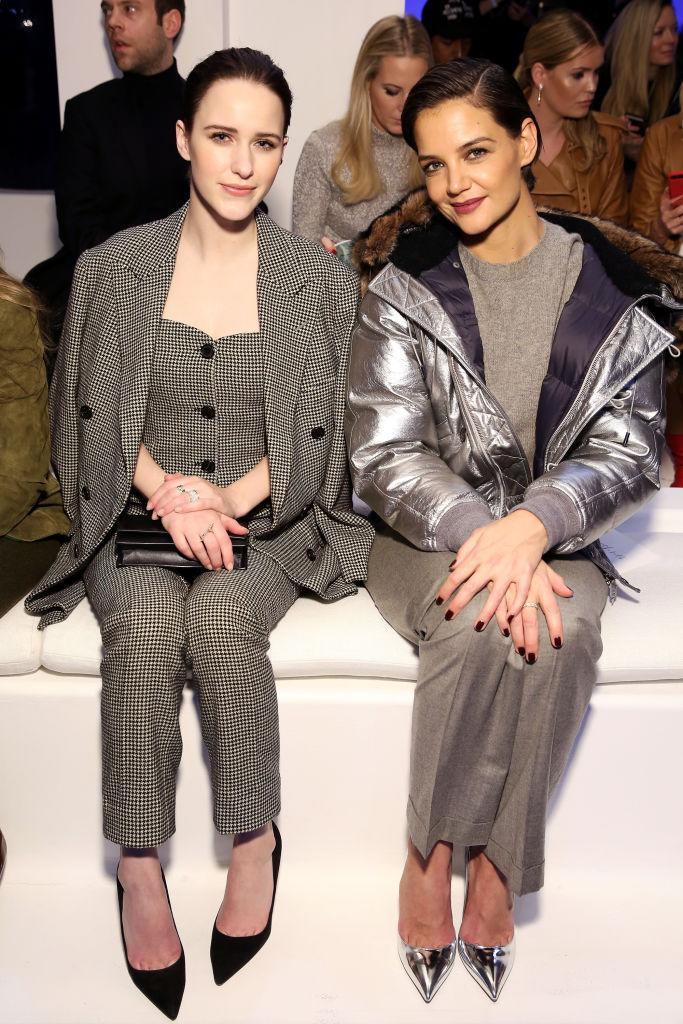 <p>Rachel Brosnahan and Katie Holmes sit FROW at the Ralph Lauren AW18 show. <em>[Photo: Getty]</em> </p>