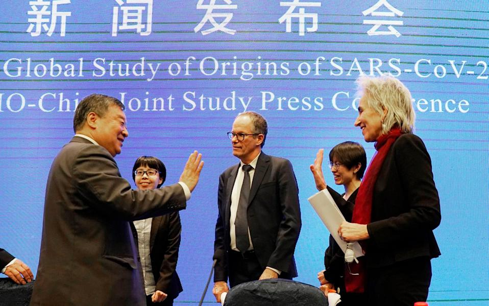 International experts on a WHO-convened mission to study the origins of Covid-19 in Wuha and their Chinese counterparts, at a press conference in February - AP Photo/Ng Han Guan