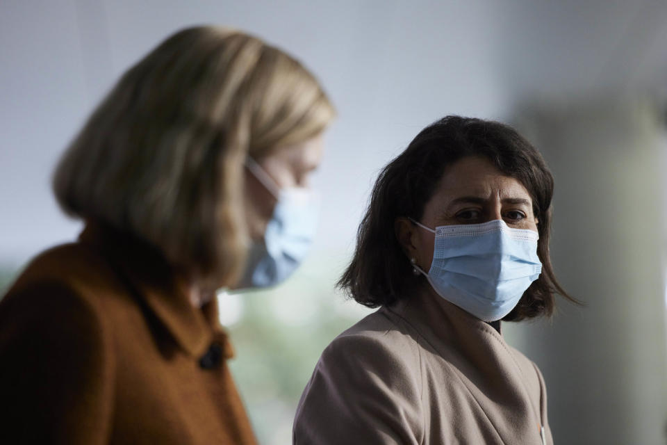 NSW Premier Glady Berejiklian (right) and NSW Chief Health Officer Kerry Chant are seen during a press conference in Sydney, Tuesday, July 20. Source: AAP