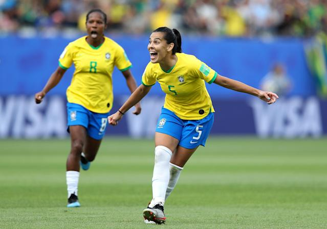 Thaisa of Brazil celebrates her team's second goal during the 2019 FIFA Women's World Cup France group C match between Brazil and Jamaica at Stade des Alpes on June 09, 2019 in Grenoble, France. (Photo by Elsa/Getty Images)