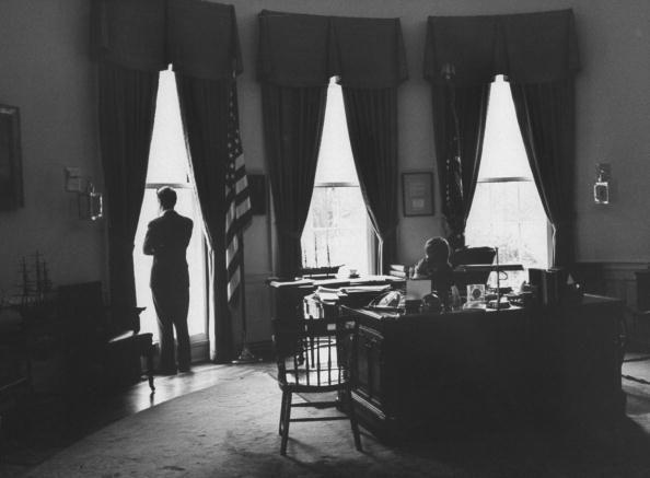 <p>President John F. Kennedy joined by his brother and Attorney General Robert F. Kennedy in the Oval Office. </p>