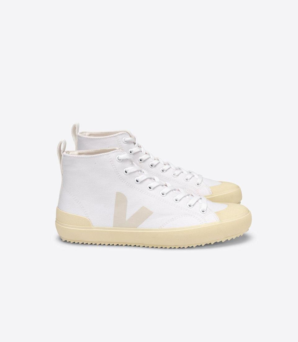 """<p>A pair of white high-top trainers will keep all casual outfits chic.</p><p><a class=""""link rapid-noclick-resp"""" href=""""https://www.veja-store.com/en_eu/nova-ht-canvas-white-butter-sole-nt012155.html"""" rel=""""nofollow noopener"""" target=""""_blank"""" data-ylk=""""slk:SHOP NOW"""">SHOP NOW</a></p><p>About £80, Veja.</p>"""