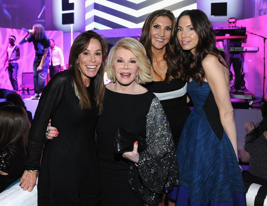 Melissa Rivers, Joan Rivers, Heather McDonald, and Whitney Cummings attend E!'s 2012 Upfront event at Gotham Hall on April 30, 2012 in New York City.
