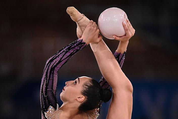 <p>Georgia's Salome Pazhava competes in the individual all-around qualification of the rhythmic gymnastics event.</p>