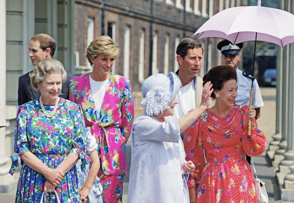 <p>Princess Margaret wasn't the only royal who chose floral for the event. The Queen and Princess Diana also opted for patterned dresses. They're shown here with Prince Edward, the Queen Mother, and Prince Charles. </p>