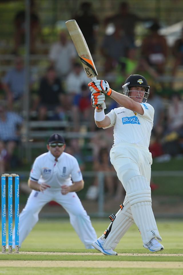 ALICE SPRINGS, AUSTRALIA - NOVEMBER 29:  Marcus Harris of the Chariman's XI bats during day one of the tour match between the Chairman's XI and England at Traeger Park on November 29, 2013 in Alice Springs, Australia.  (Photo by Mark Kolbe/Getty Images)