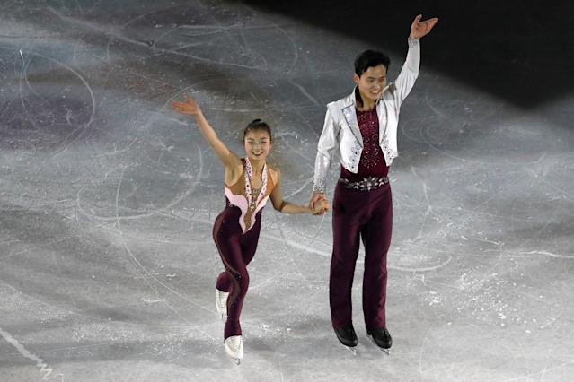 Ryom Tae Ok and Kim Ju Sik of North Korea compete at the Four Continents Figure Skating Championships in Taipei, Taiwan. (REUTERS)