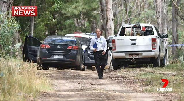 Police at the Mount Macedon scene. Picture: 7 News