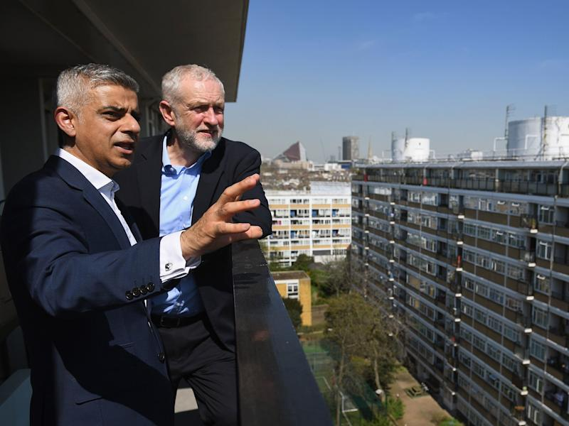 Sadiq Khan stands with Jeremy Corbyn following the launch of Labour's Social Housing review in April: Jeff J Mitchell/Getty Images