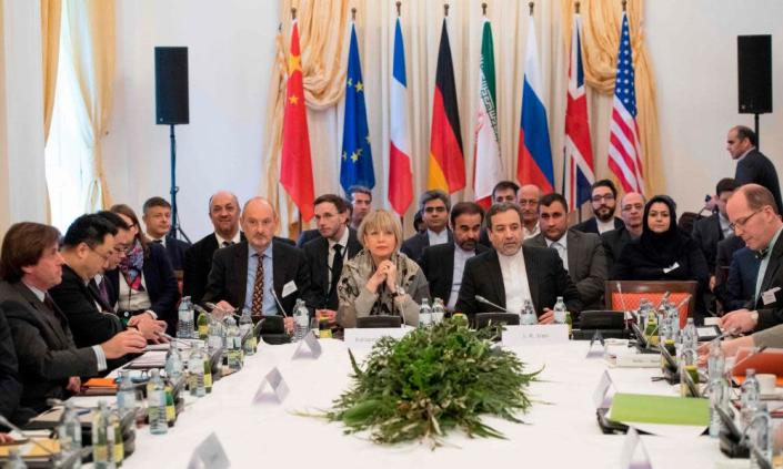 Delegates attend Iran talks at Palais Coburg in Vienna, earlier this month.