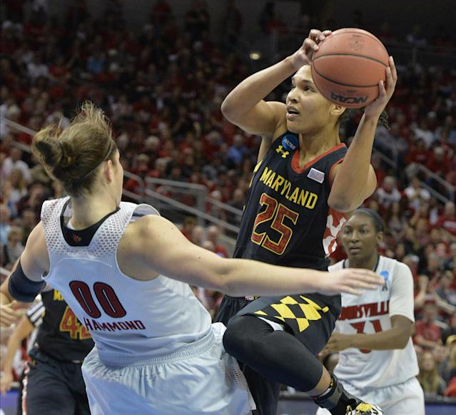 Maryland's Alyssa Thomas, right, charges into Louisville's Sara Hammond during the first half of a regional final in the NCAA women's college basketball tournament, Tuesday, April 1, 2014, in Louisville, Ky. (AP Photo/Timothy D. Easley)