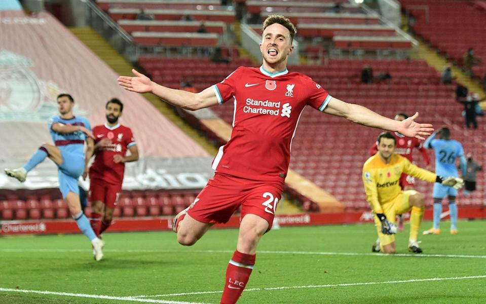 Liverpool's Diogo Jota celebrates after scoring the 2-1 goal during the English Premier League soccer match between Liverpool FC and West Ham United in Liverpool, Britain, 31 October 2020. - Peter Powell/POOL/EPA-EFE/Shutterstock