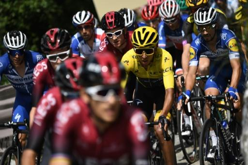 On the rise: Colombia's Egan Bernal started the last climb of the Tour in yellow for the first time