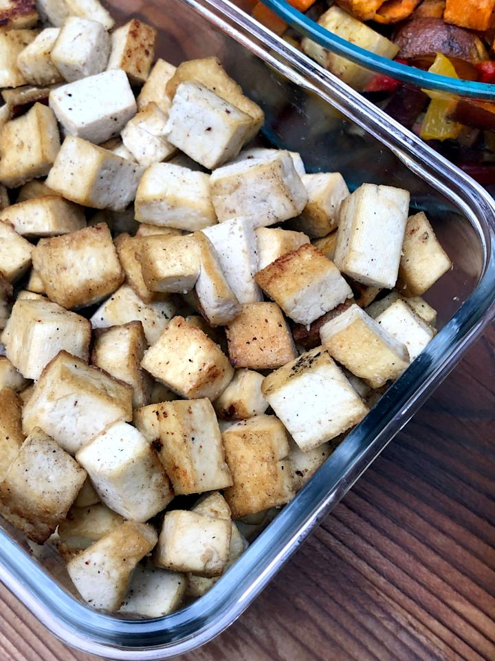 "<p>There are a few ways you can prep tofu. You can cube it (or crumble it), <a href=""https://www.popsugar.com/fitness/photo-gallery/34429412/image/34437123/How-Marinate"" class=""ga-track"" data-ga-category=""Related"" data-ga-label=""https://www.popsugar.com/fitness/How-Cook-Tofu-34429412#photo-34437123"" data-ga-action=""In-Line Links"">marinate it</a>, and be done. You can chop other veggies like sweet potatoes and red pepper and <a href=""https://www.popsugar.com/fitness/Roasted-Tofu-Sweet-Potato-Pepper-1-Pan-Meal-43540555"" class=""ga-track"" data-ga-category=""Related"" data-ga-label=""https://www.popsugar.com/fitness/Roasted-Tofu-Sweet-Potato-Pepper-1-Pan-Meal-43540555"" data-ga-action=""In-Line Links"">add your marinated tofu to a glass dish</a> so it's ready to roast later in the week. Or you can bake or sauté tofu so it's ready to add to salads, soups, and whole grains.</p> <p>For a superquick hack, buy <a href=""https://www.popsugar.com/fitness/photo-gallery/45722421/image/45758954/Baked-Tofu?fullsite=1"" class=""ga-track"" data-ga-category=""Related"" data-ga-label=""https://www.popsugar.com/fitness/photo-gallery/45722421/image/45758954/Baked-Tofu?fullsite=1"" data-ga-action=""In-Line Links"">Trader Joe's Organic Baked Tofu</a>, cube that, and you're done in five minutes!</p>"