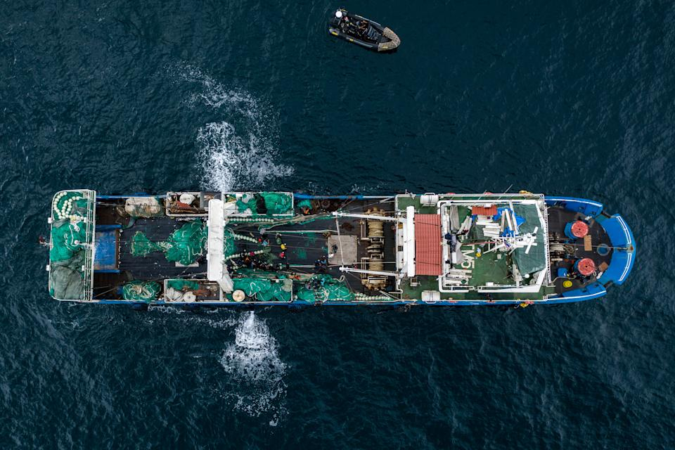 An aerial shot of the Chinese fishing ship in Gambian waters. (Fábio Nascimento / The Outlaw Ocean Project)