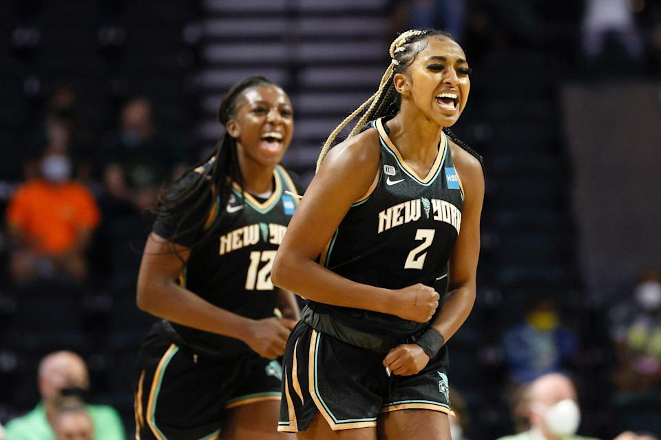 New York Liberty rookies DiDi Richards and Michaela Onyenwere react after scoring against the Seattle Storm.