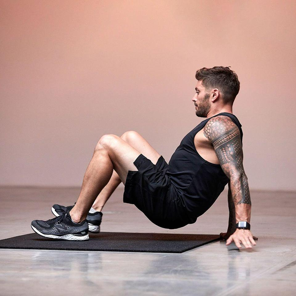 <p>Sit on the floor with your feet in line with hips and arms behind you with fingers forward. Engaging your core, lift hips off the floor and start 'walking' by moving your opposite hand and foot, one step at a time. Take about 4 'steps' forward, then then reverse.</p>