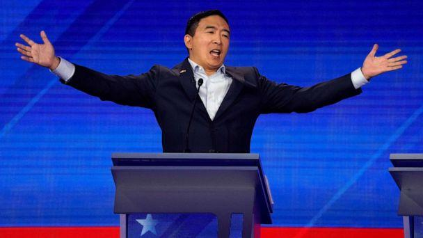 PHOTO: Entrepreneur Andrew Yang reacts during the 2020 Democratic presidential debate in Houston, Sept. 12, 2019. (Mike Blake/Reuters)