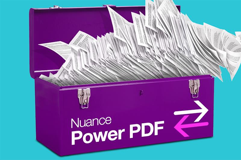 Purple box labeled Nuance Power PDF with papers flying out of it.