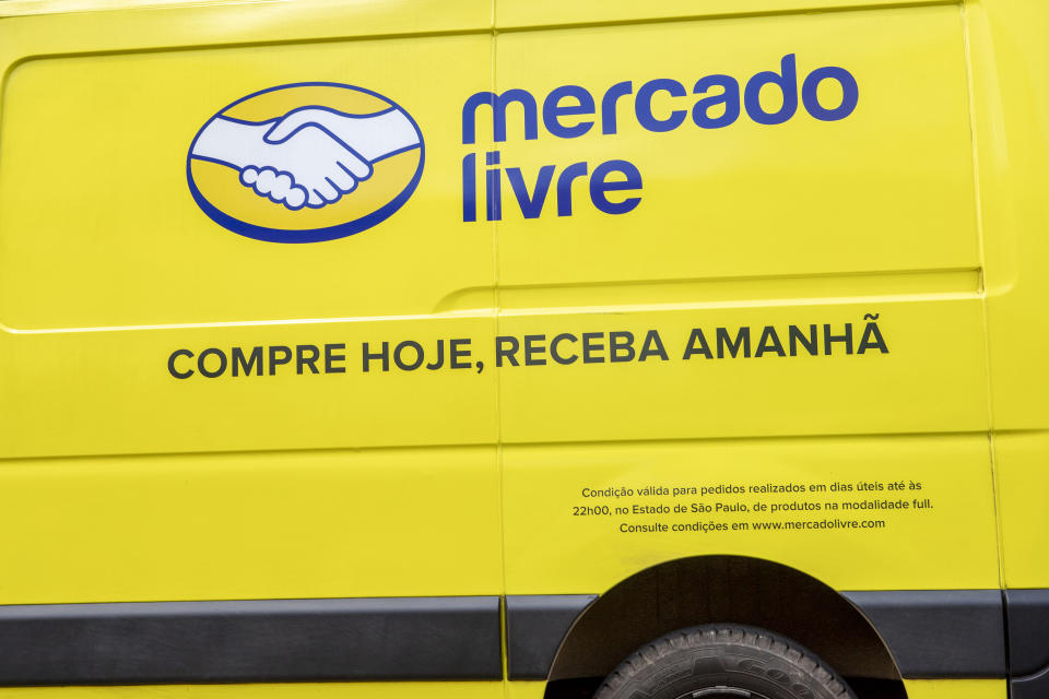 São Paulo, Brazil -March 12, , 2021: Mercado Livre van delivers products purchased over the Internet