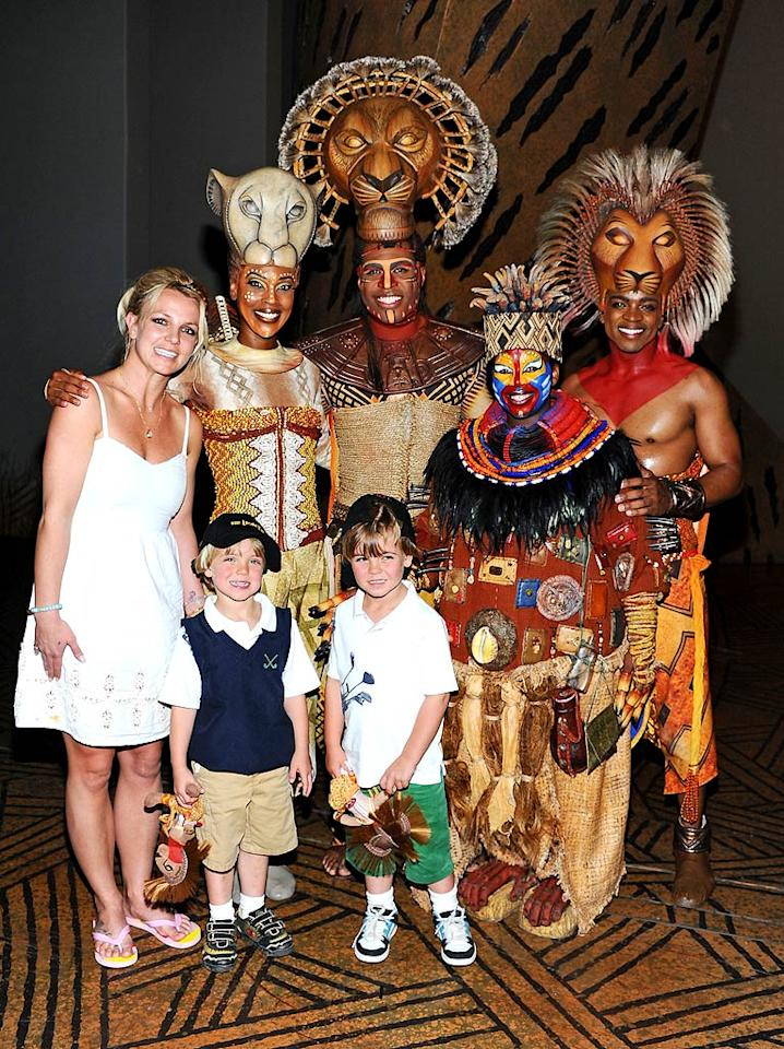 """Jamie Lynn's older sis, Britney, had the first of her two sons, Sean Preston, who's now 6, when she was 23 in 2005. In April, her youngest son Jayden James, 5, joined them for a fun trip to see """"The Lion King"""" in Las Vegas. Both are the offspring of Brit's former husband Kevin Federline.  Angela Weiss/GettyImages.com - April 3, 2011"""