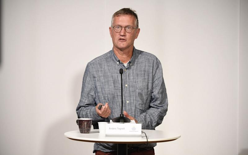 State epidemiologist Anders Tegnell of the Public Health Agency of Sweden speaks during a news conference updating on the coronavirus pandemic in Stockholm. - Pontus Lundahl/EPA-EFE/Shutterstock