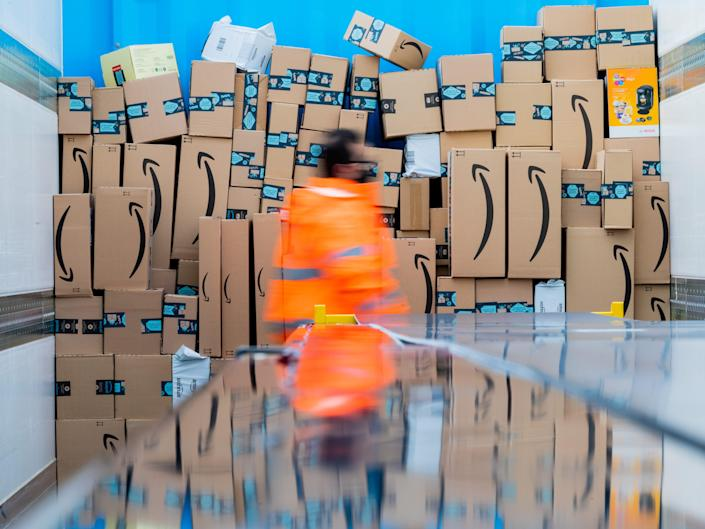 Parcels are stored in a truck in a logistics centre of the mail order company Amazon.
