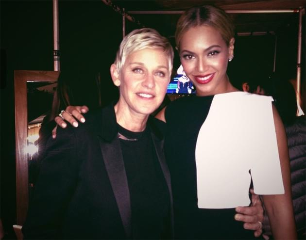 Backstage at the Grammys 2013: Not content with posing with Adele, Ellen DeGeneres then hunted down Beyonce. They posed for this Twitpic together. Copyright [Ellen DeGeneres]
