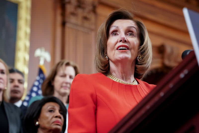 Speaker of the House Pelosi speaks during a news conference about legislation the House has passed at the Capitol in Washington