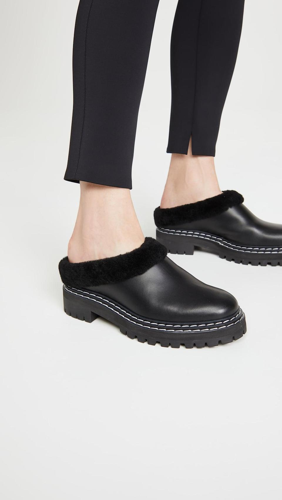 <p>No doubt these cool <span>Proenza Schouler Lug Sole Mules</span> ($740) will keep your feet warm. The leather makes them a durable choice too.</p>