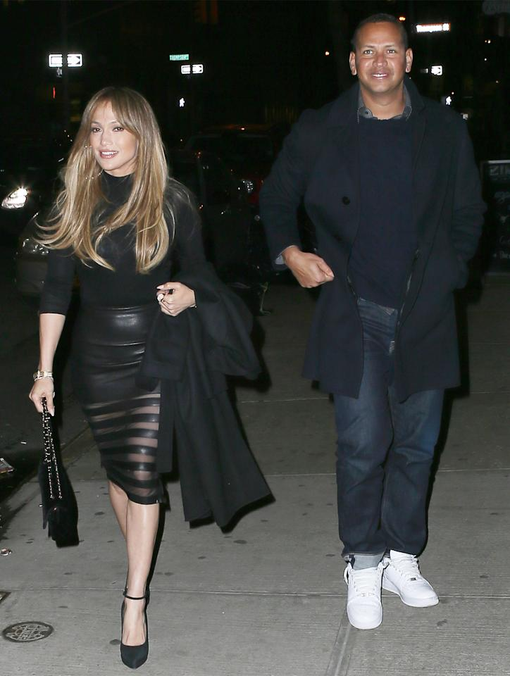 <p>Lopez stepped out for date night with Rodriguez in New York City wearing the perfect outfit for the transitional weather—a black turtleneck top tucked into a skintight leather skirt. The <i>Shades of Blue </i>star completed the look with her signature gold hoops, a black chain-strap bag, and ankle-strap pumps.</p>