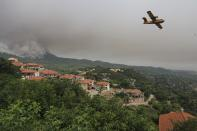 An aircraft operates as flames burn a forest during a wildfire in Kourkouloi village on the island of Evia, about 150 kilometers (93 miles) north of Athens, Greece, Thursday, Aug. 5, 2021. Forest fires fueled by a protracted heat wave raged overnight and into Thursday in Greece, threatening the archaeological site at the birthplace of the modern Olympics and forcing the evacuation of dozens of villages. (AP Photo/Thodoris Nikolaou)