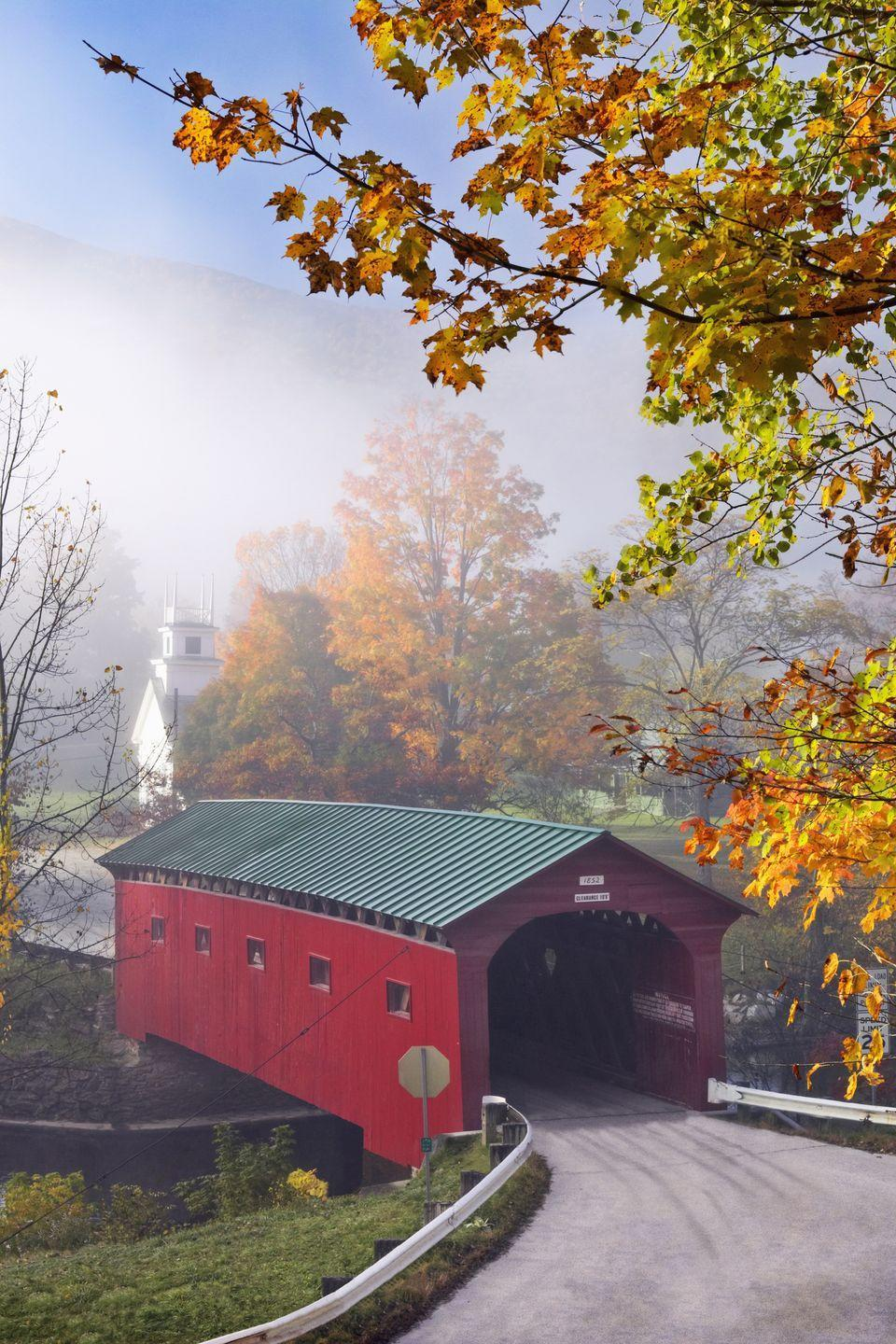 <p><strong>Where: </strong>Arlington Green Covered Bridge, Vermont</p><p><strong>Why We Love It: </strong>Vermont has over 100 covered bridges, but the structure in Arlington is one of the state's oldest and best preserved examples.</p>
