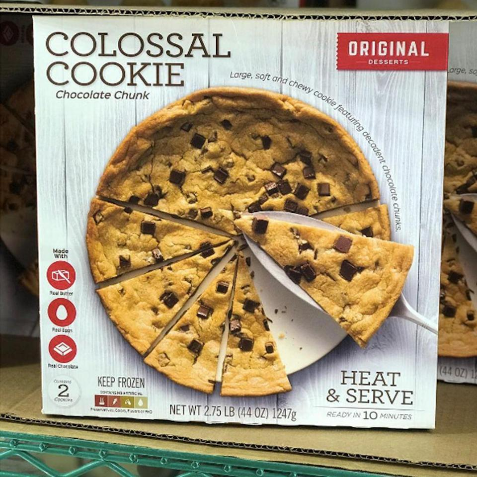 """<p>You know when you tell yourself when you're on a diet that you're """"just going to have one cookie tonight""""? Well, this one totally counts as that. Learn more about the <a href=""""https://www.bestproducts.com/lifestyle/a24888336/costco-original-desserts-giant-chocolate-chunk-cookies/"""" rel=""""nofollow noopener"""" target=""""_blank"""" data-ylk=""""slk:two giant soft cookies"""" class=""""link rapid-noclick-resp""""><em>two</em> giant soft cookies</a> you can get at Costco (for only $8!) here. </p>"""