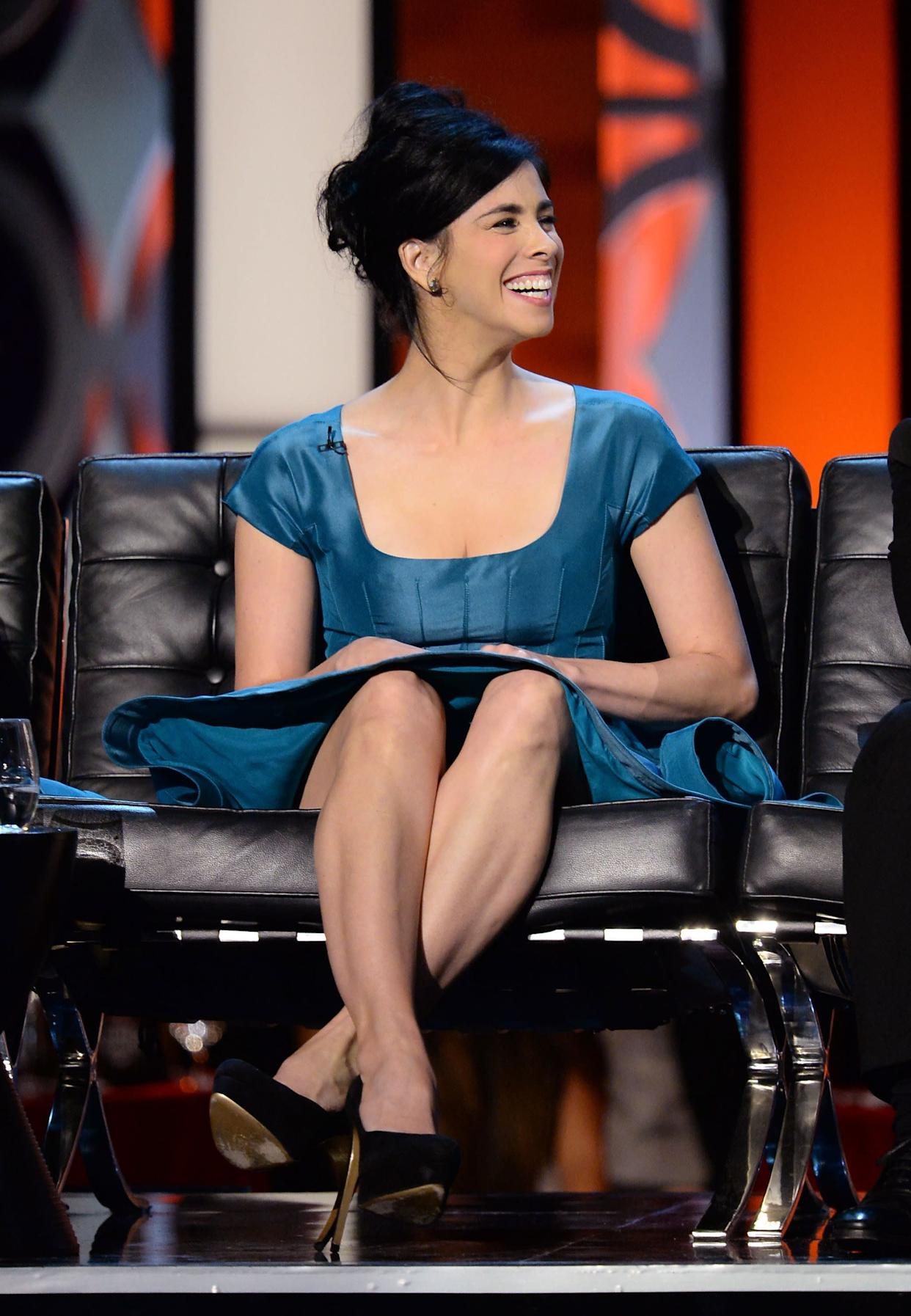 CULVER CITY, CA - AUGUST 25: Comedienne Sarah Silverman onstage during The Comedy Central Roast of James Franco at Culver Studios on August 25, 2013 in Culver City, California. The Comedy Central Roast Of James Franco will air on September 2 at 10:00 p.m. ET/PT. (Photo by Jason Merritt/Getty Images for Comedy Central)