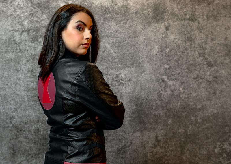 Join the cause with a 'Black Widow' leather jacket from Her Universe (Photo: Disney Dpecp)